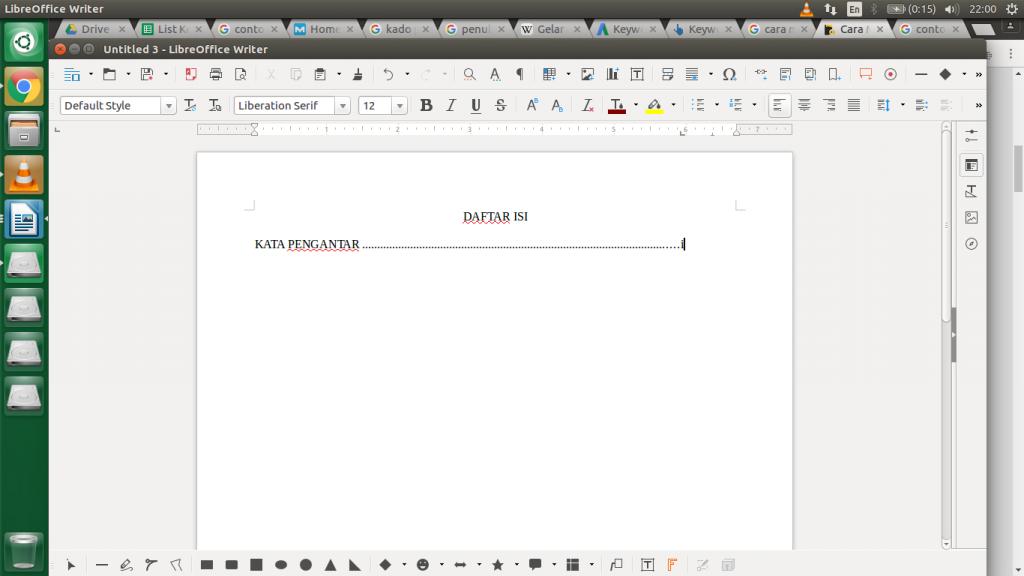 cara menulis daftar isi - klik taby pada keyboard